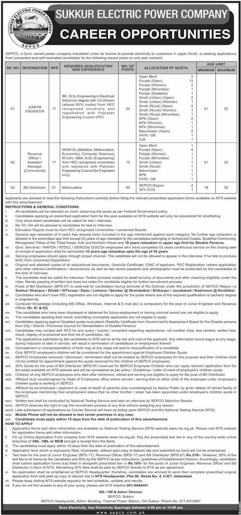 Sukkur Electric Power Company SEPCO Jobs 2019 Wapda