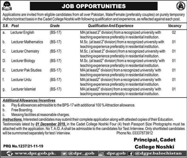 cadet college nushki jobs 2019