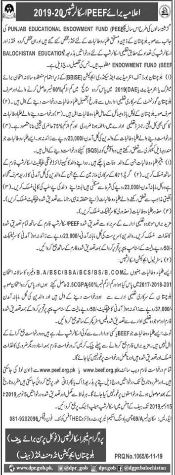 PEEF Scholarship for balochistan students