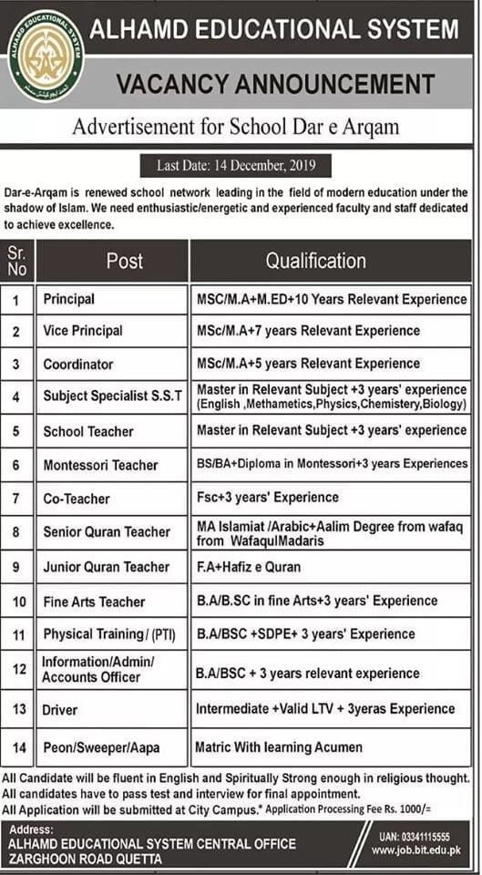 Al-hamd Islamic university job