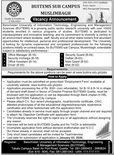 Balochistan University Of Information Technology Engineering And Management Sciences Buitems Jobs January 2020