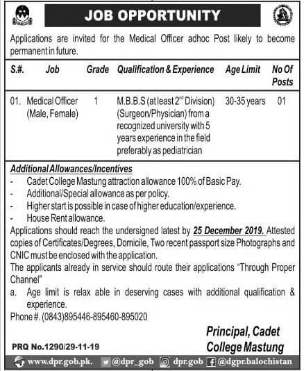 cadet college mastung jobs