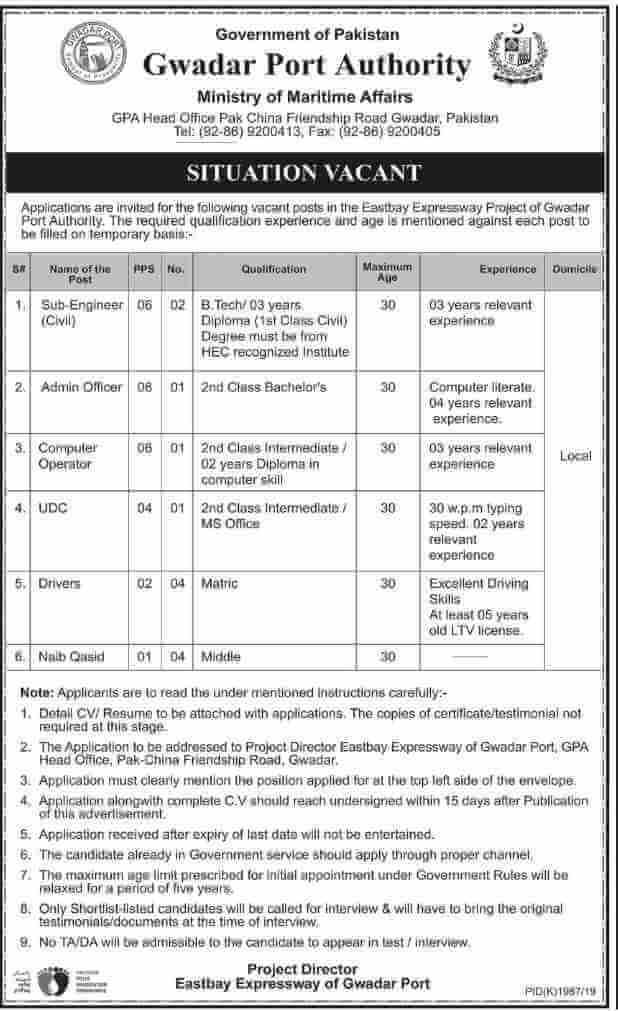 GPA Gwadar Port Authority Ministry of Maritime Affairs Jobs