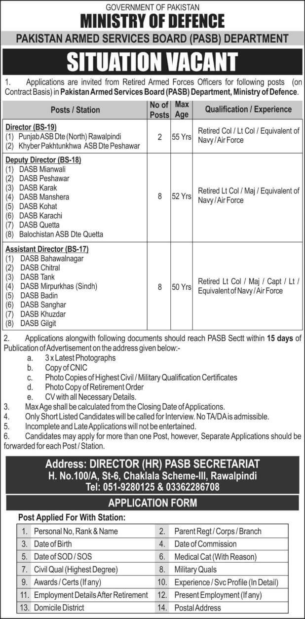 Ministry-of-Defence-Pakistan-Armed-Services-Board-PASB-Department-Jobs