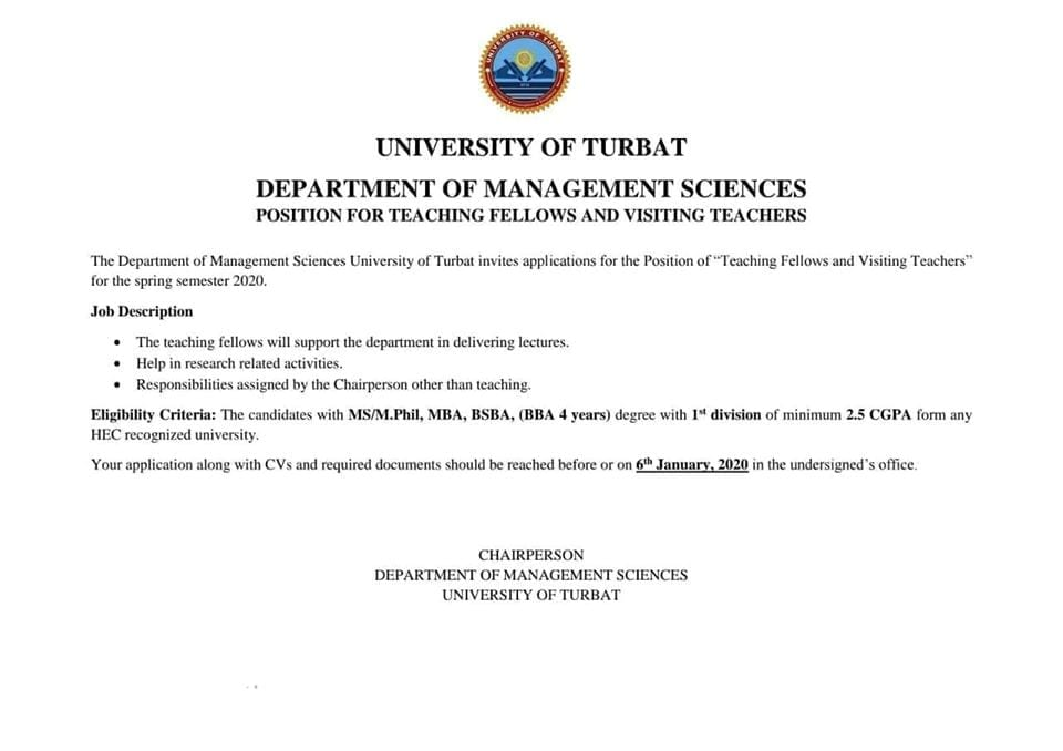 Teaching Fellow and Visiting Teachers Positions in the Department of Management Sciences.