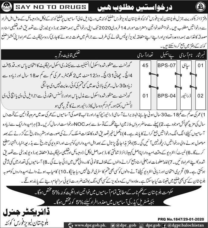 Balochistan levis force Quetta jobs 2020