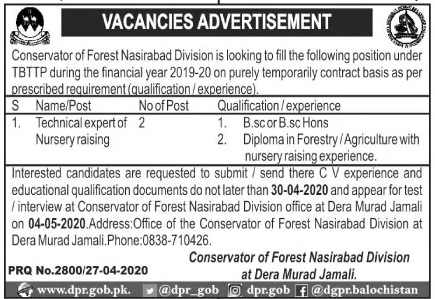 Jobs in Conservator of Forest Nasirabad Division