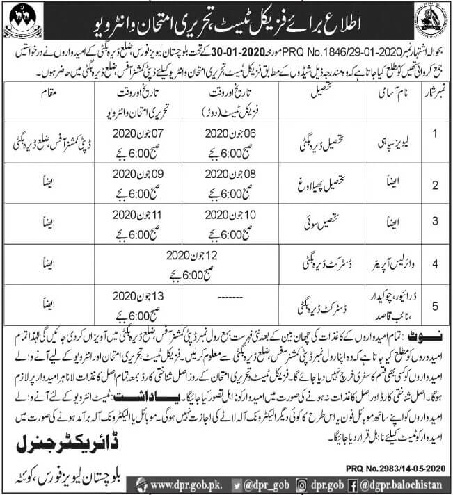 Balochistan Levies Force Jobs May 2020 Latest Balochistan Jobs